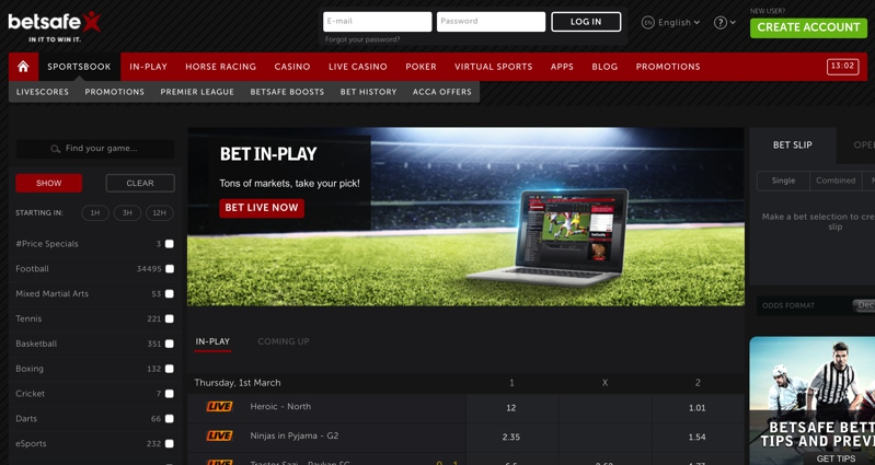 Betsafe Sports Screenshot